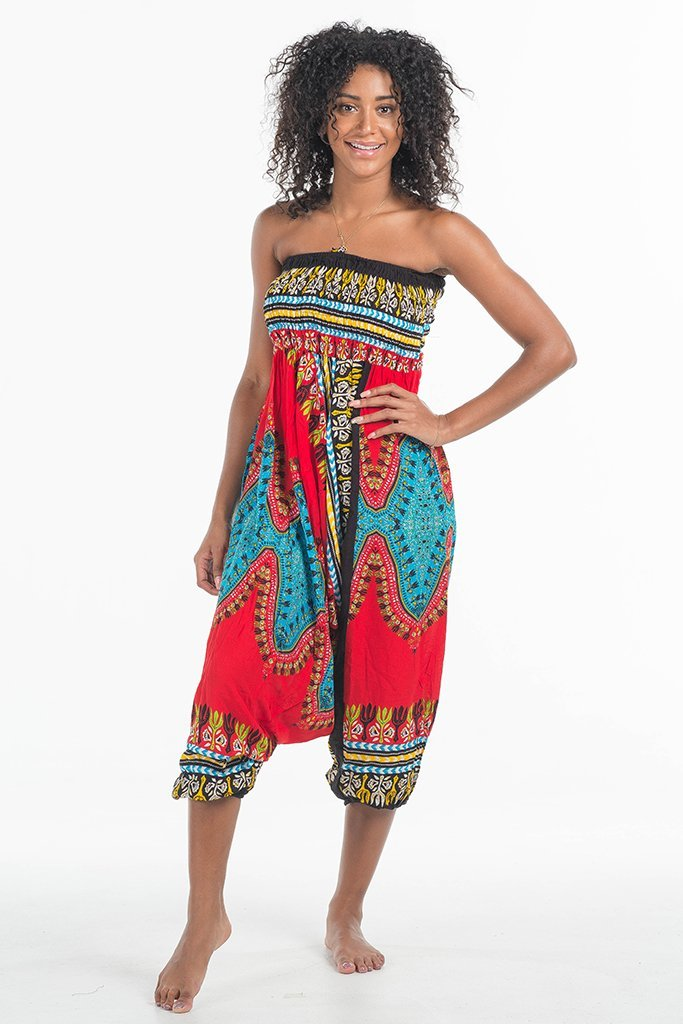 African Dashiki Harem Jumpsuit Candy Red
