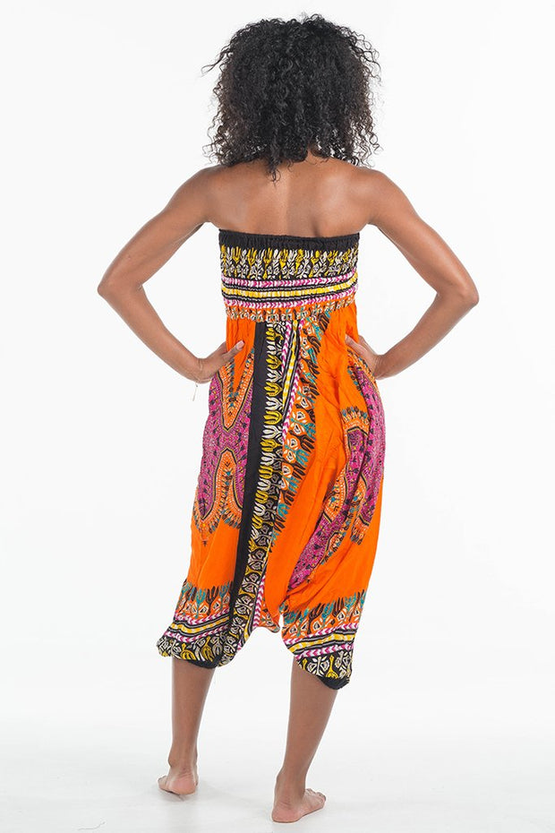 African Dashiki Harem Jumpsuit Orange