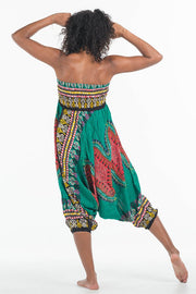 African Dashiki Harem Jumpsuit Green