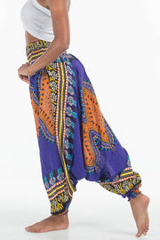African Dashiki Harem Jumpsuit Purple