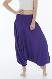 Thai Harem Pants Jumpsuit Solid Color Deep Purple