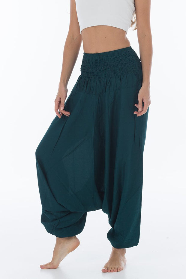 Thai Harem Pants Jumpsuit Solid Color Deep Teal