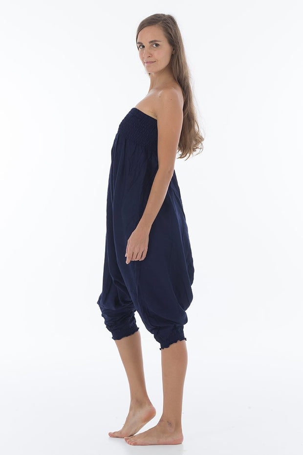 Thai Harem Pants Jumpsuit Solid Color Denim