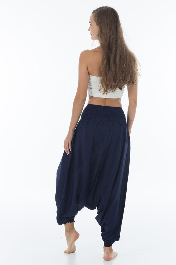 Solid Harem Jumpsuit Denim