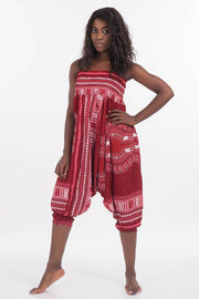 Dashiki Harem Jumpsuit Cherry