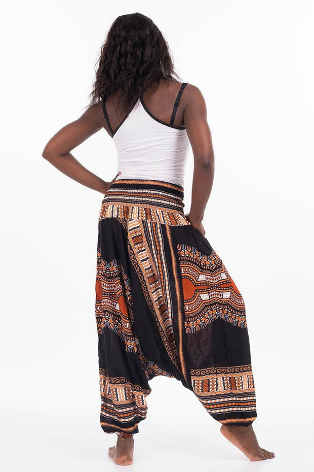 Dashiki Harem Jumpsuit Black Brown