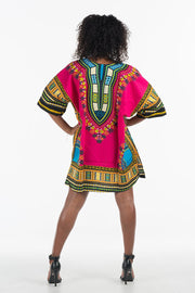 African Dashiki Shirt Hot Pink