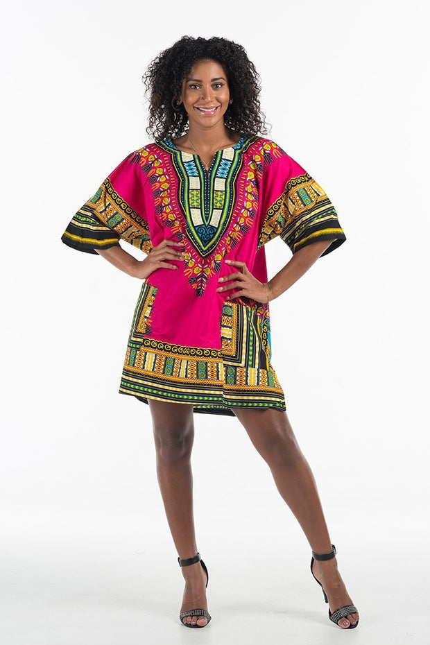 Women's African Dashiki Shirt Hot Pink