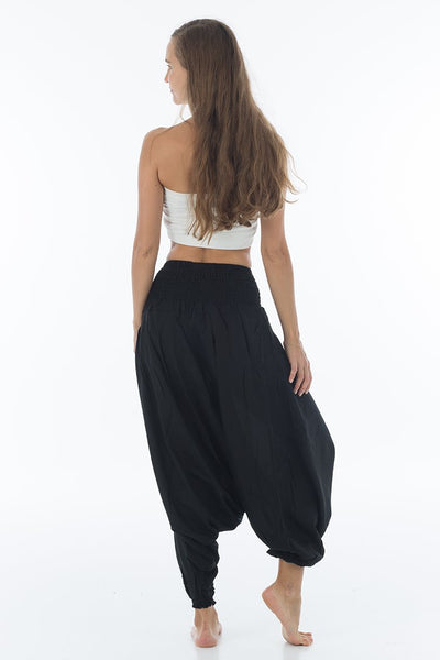 Thai Harem Pants Jumpsuit Solid Color Jet Black