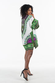 Women's African Dashiki Shirt Purple Green