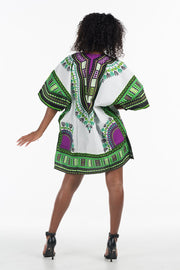 African Dashiki Shirt Purple Green
