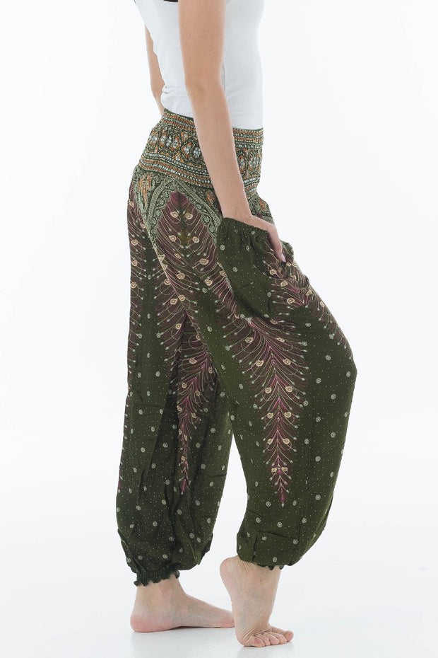 Peacock High Waisted Harem Pants