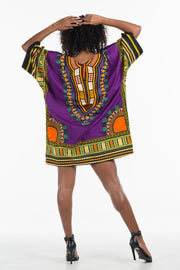 African Dashiki Shirt Purple