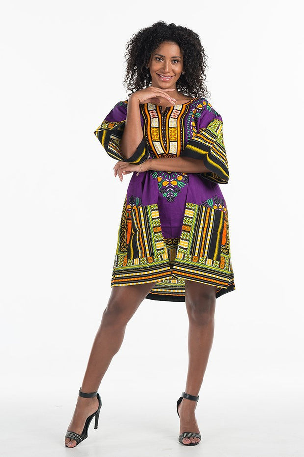 Women's African Dashiki Shirt Purple