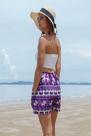 Thai Boho Elephant Shorts Paisley Design Main Color Purple - Harem Garden