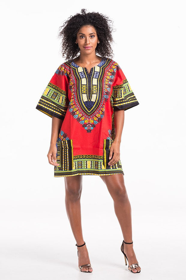 Women's African Dashiki Shirt Red