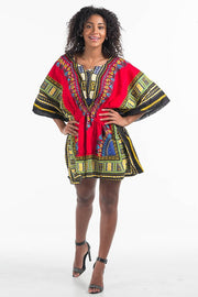 African Dashiki Dress Elastic Waist Red