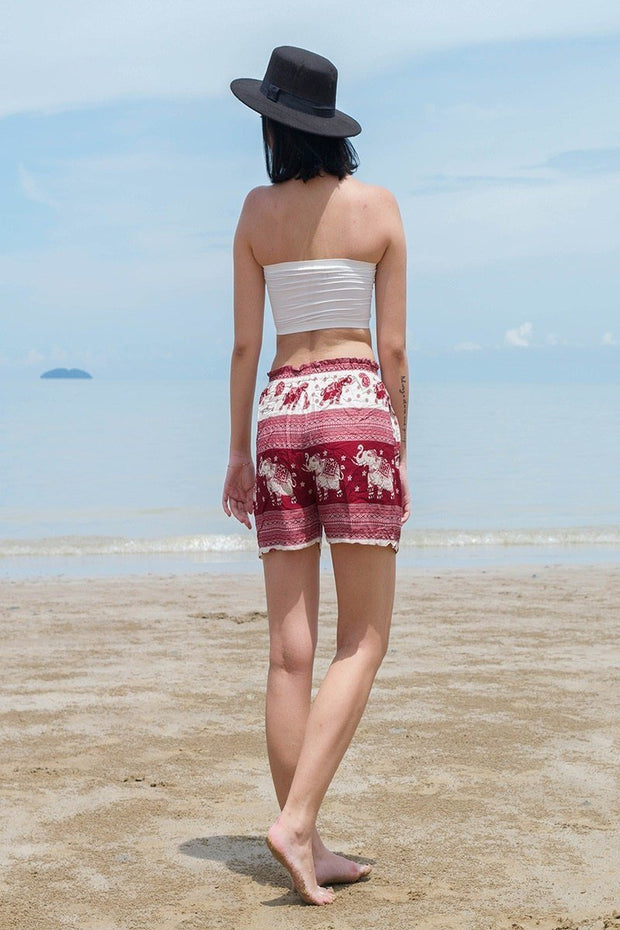 Thai Boho Elephant Shorts Paisley Design Red & White - Harem Garden