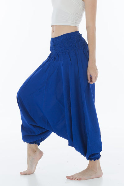 Thai Harem Pants Jumpsuit Solid Color Royal Blue