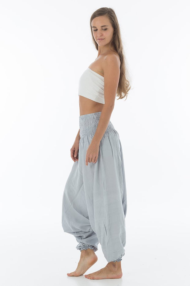 Thai Harem Pants Jumpsuit Solid Color Silver Lining