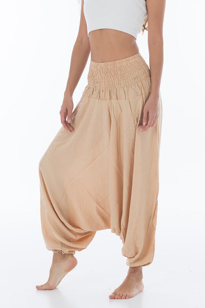 Thai Harem Pants Jumpsuit Solid Color Sofa Cream