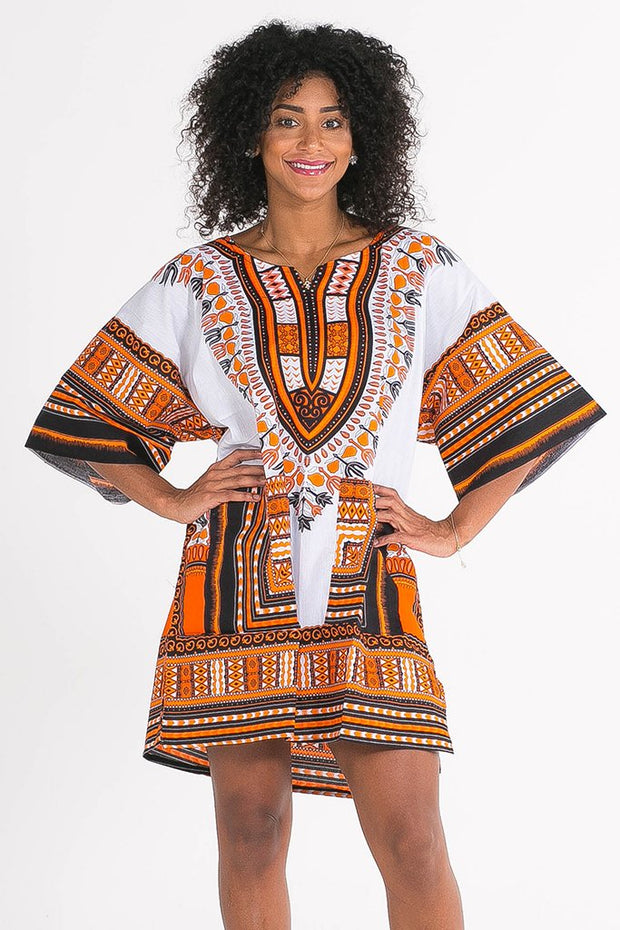 African Dashiki Shirt White Orange