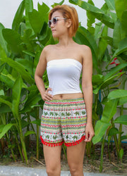 Thai Elephant Pom Pom Shorts Christmas Colors - Harem Garden