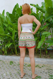 Elephant Pom Pom Shorts Green Red