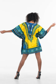 Dashiki Dress Elastic Waist Yellow