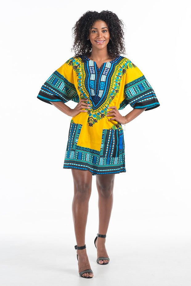 Women's African Dashiki Shirt Yellow