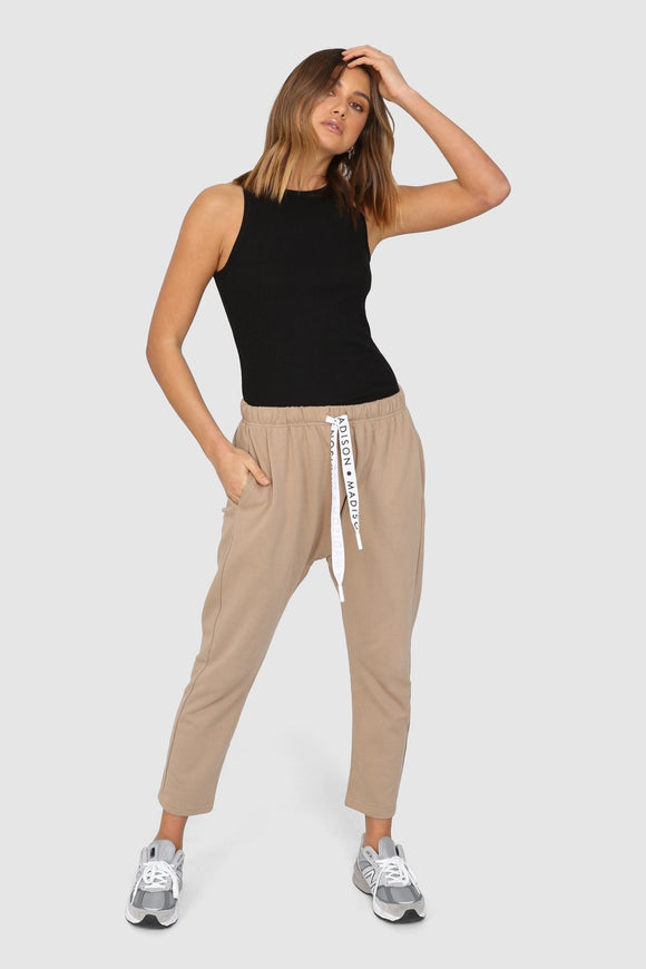 Cody Drop Crotch Pants - beige