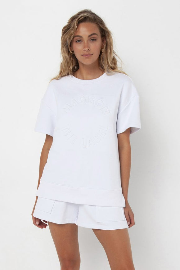 Madison Embossed Sweater Tee - White