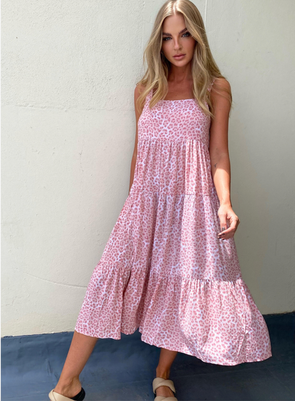 Avril Midi Dress - pink leopard