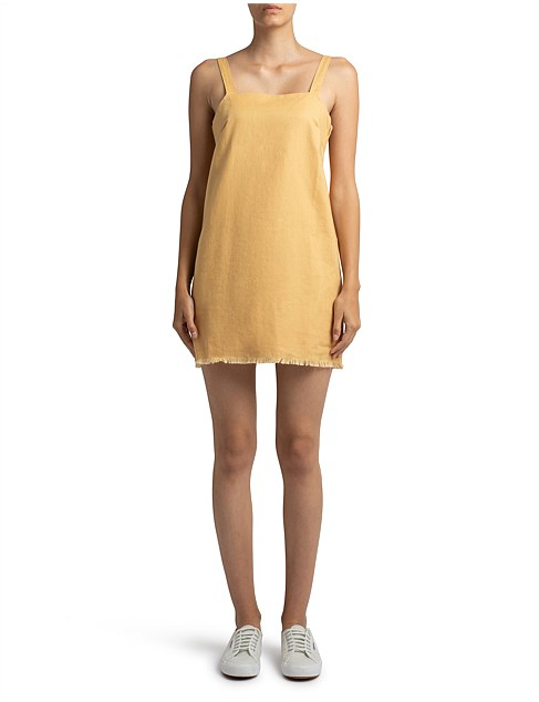 Blake Linen Dress - washed mustard