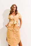 Marley Linen Midi Dress- mustard