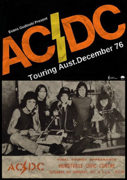 AC/DC - Final Sydney Appearance 1977 - A4 Music Mini Print