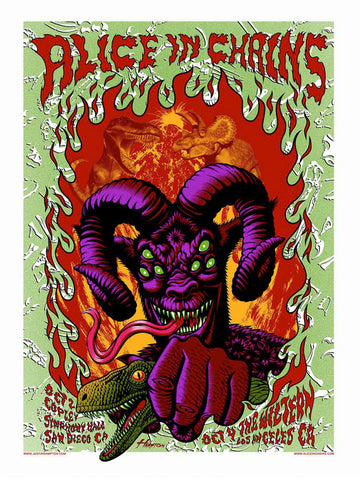 Alice in Chains - San Diego - A4 Music Mini Print