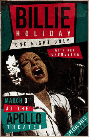 Billie Holiday - One Night Only at the Apollo - A4 Music Mini Print