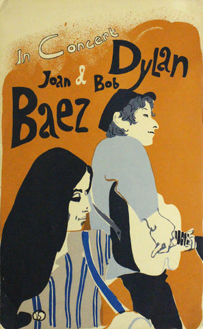 Bob Dylan and Joan Baez - In Concert - A4 Music Mini Print