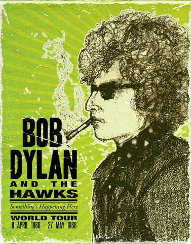 Bob Dylan and the Hawks - World Tour 1966 - A4 Music Mini Print