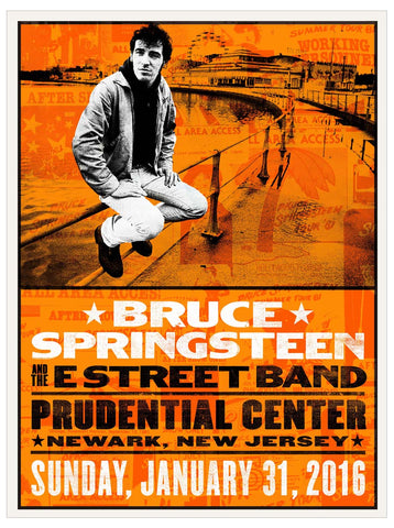 Bruce Springsteen - River Tour 2016 - New Jersey - A4 Music Mini Print