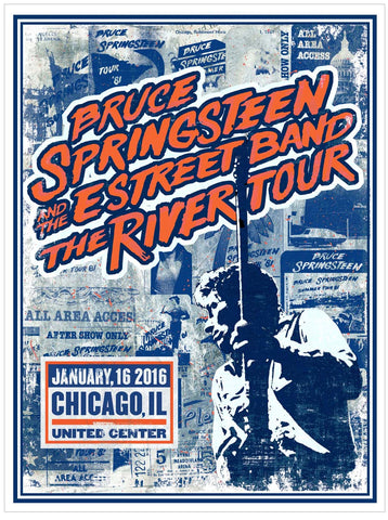 Bruce Springsteen - The River Tour 2016 - Chicago - A4 Music Mini Print