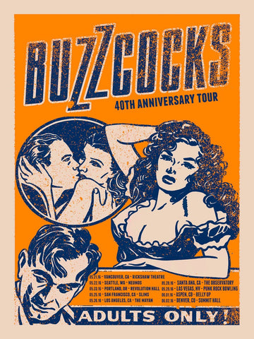 Buzzcocks - 40th Anniversary Tour 2016 - A4 Music Mini Print