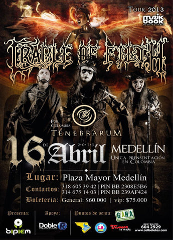 Cradle of Filth - Medellin 2013 - A4 Music Mini Print