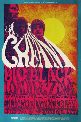 Cream - Fillmore - Winterland - A4 Music Mini Print