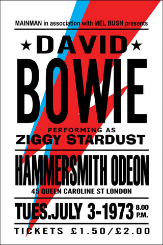 David Bowie - Hammersmith Odeon 1973 - A4 Music Mini Print