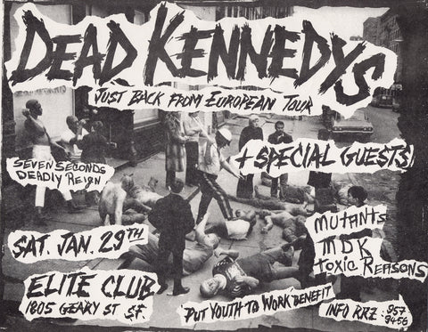 Dead Kennedys - Elite Club, San Francisco 1983 - A4 Music Mini Print