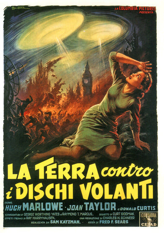Earth vs the Flying Saucers - 50s B-Movie Classic - Italian Vintage Print