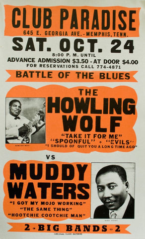 Howling Wolf - Muddy Waters - Battle of the Blues - A4 Music Mini Print