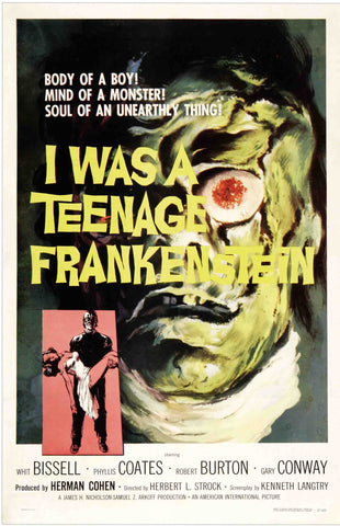 I Was a Teenage Frankenstein - 50s B-Movie Classic - A4 Vintage Print A